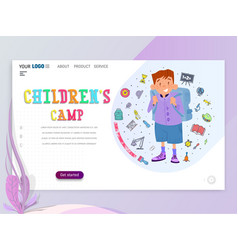 child camp home page template flat style vector image