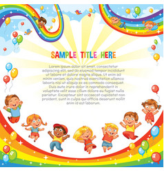 children slide down on a rainbow template vector image