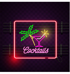 cocktails square frame neon sign purple background vector image