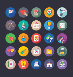 colourful flat icons set love and valentine vector image