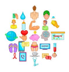 Concern icons set cartoon style vector