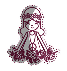 contour hippie woman peace and love vector image