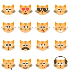 cute cat faces set vector image