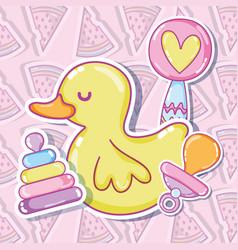 Cute ducky with toys vector