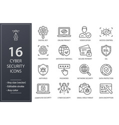Cyber security line icons set black vector