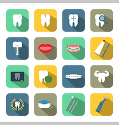 Dental and teeth health flat style icon set vector image