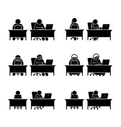 different family members using computer to go vector image