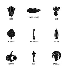 dill icons set simple style vector image