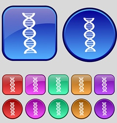 DNA icon sign A set of twelve vintage buttons for vector image