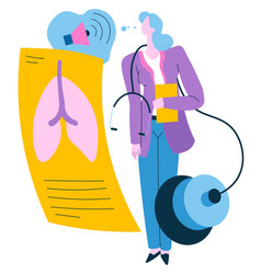doctor checking lungs on xray checkup at hospital vector image