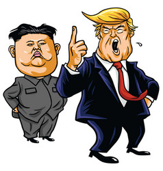 donald trump with kim jong-un cartoon vector image