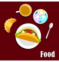 Fast food taco coffee croissant and ice cream vector