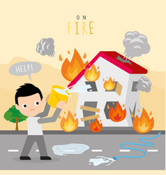 Fire burn house boy danger help cartoon vector