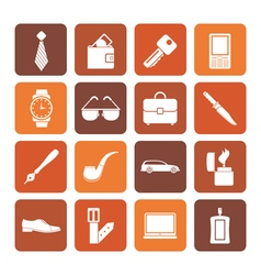 Flat man accessories icons and objects vector image