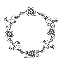 floral wreath birds flowers natural decoration vector image