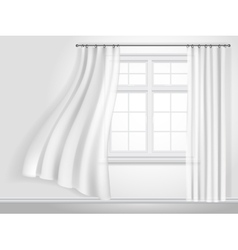 fluttering curtains and window vector image