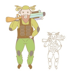 Funny cartoon sheep vector