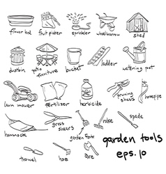 Garden tools doodles vector