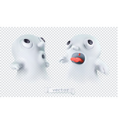 ghost with transparency happy halloween 3d vector image