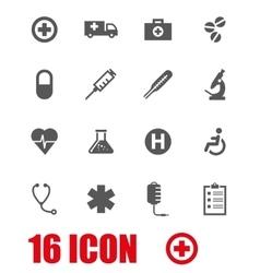 grey medical icon set vector image