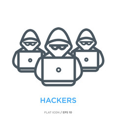 Hackers line flat icon vector