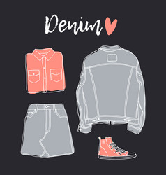 hand drawn set of jeans wear fashion background vector image