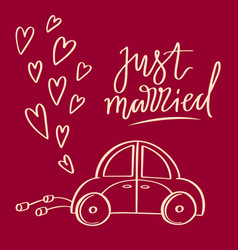 hand sketched wedding symbol just married vector image