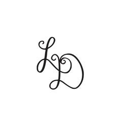 Handwritten monogram ld icon vector