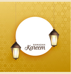 hanging lantern with text space on golden vector image