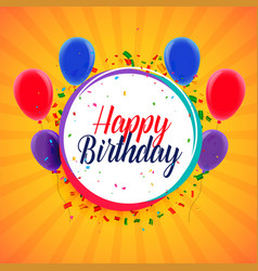 happy birthday card design with balloons and vector image
