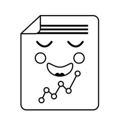 Happy graph chart kawaii icon image vector