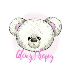 head white plush teddy bear image vector image