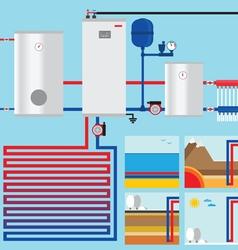 Heat pump in cottage vertical collector horiso vector