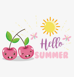 Hello sumer cute fruits concept vector