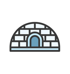 Igloo or snow house icon filled outline style vector