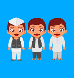 indian candidate common man politician characters vector image