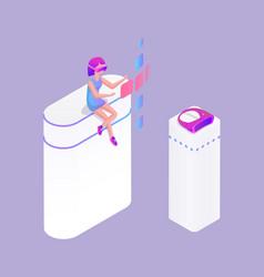 Interactive reality woman vector