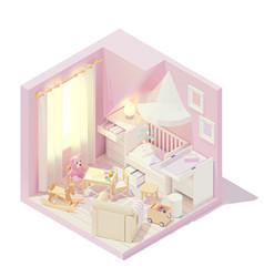 Isometric children and baby room vector