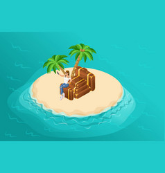 isometric paradise island in middle of ocean vector image