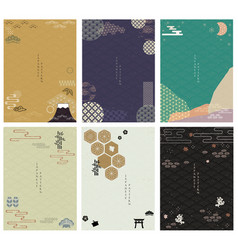 japanese background with icon geometric and vector image