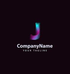 letter j modern wave line logo design template vector image