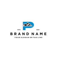 Letter p mountain logo design concept vector