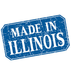 Made in illinois blue square grunge stamp vector