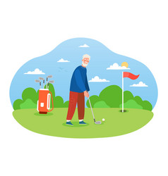 Male grey pensioner is playing golf on pastime vector