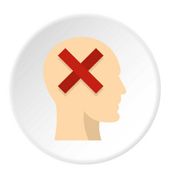 Man head silhouette with red cross inside icon vector