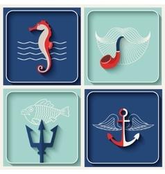 marine theme icons vector image