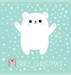 merry christmas candy cane text polar white bear vector image