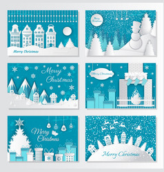 merry christmas paper cut old town in winter vector image
