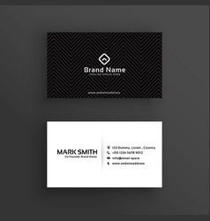 Minimal dark business card design template vector