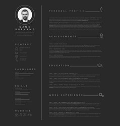 Minimalist dark resume cv template with nice vector